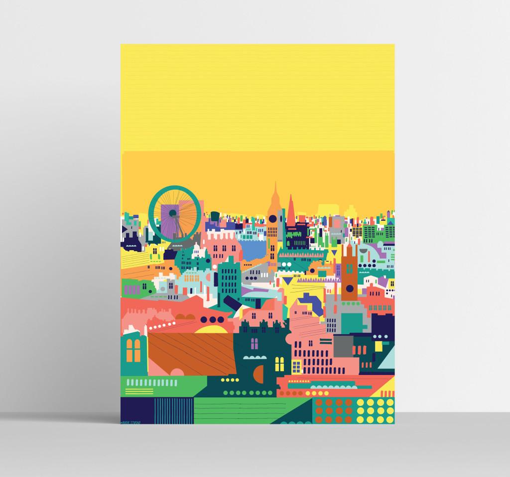 A3 Colourful London Art Print Visual