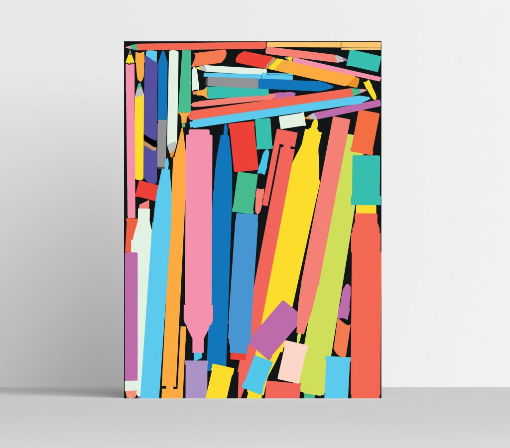 A3 Marker Pens Art Print Visual