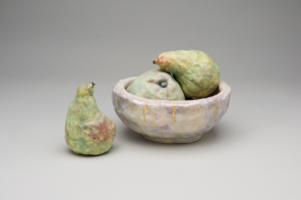 Susan Nemeth Still Life with Pears H 16 cm W 30 cm D 18 cm Porcelain, coloured slips,  23ct gold leaf