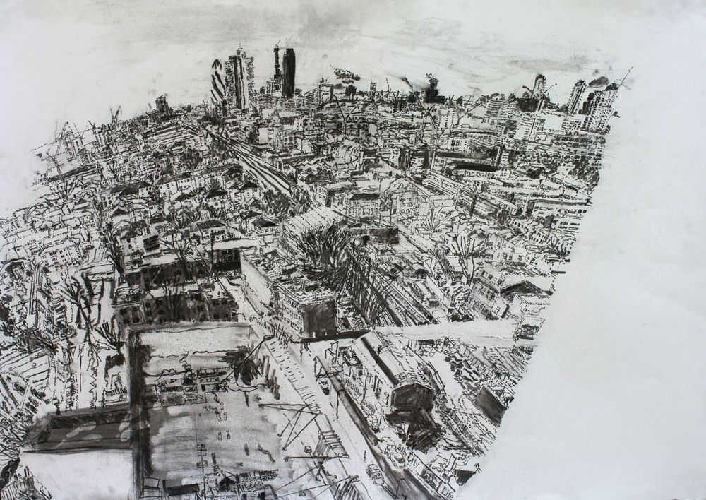 '27.1.11 - 18th floor - The Collins' flat', Chacoal on paper, 59 x 84cm, Alexandra Blum