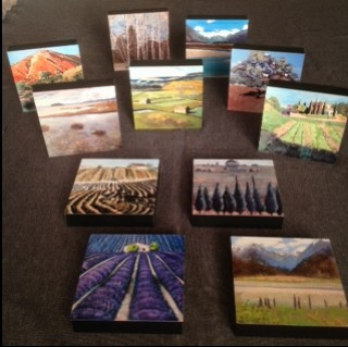 These decorative items for a desk or shelf measure 10cmx10cm. £35 each or pick up three for £90. A very affordable Lydia Bauman landscape gift.