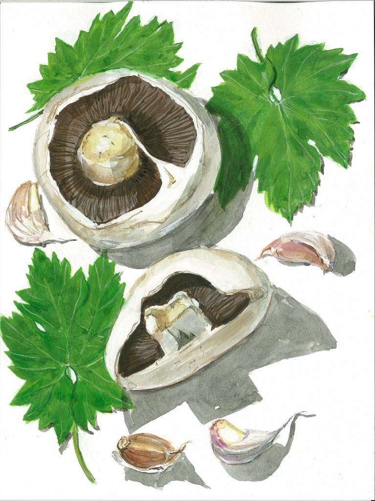 Mushrooms & vine leaves